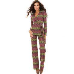 Kardigany damskie: 2-częściowy zestaw w kolorze różowo-zielonym – kardigan, spodnie