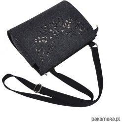 Torebka filcowa - grafitowa -beżowy ażur- folk. Brązowe torebki klasyczne damskie Pakamera, w ażurowe wzory, małe. Za 95,00 zł.