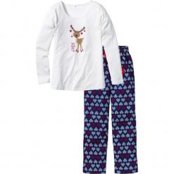 Piżama bonprix biel wełny - niebieski z nadrukiem. Białe piżamy damskie bonprix, z nadrukiem, z wełny. Za 37,99 zł.