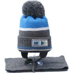 Czapka dziecięca z szalikiem CZ+S 024C szaro-niebieska r. 46-50. Niebieskie czapeczki niemowlęce Proman. Za 45,25 zł.
