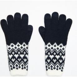 Wzorzyste rękawiczki pięciopalczaste - Granatowy. Brązowe rękawiczki damskie marki Roeckl. Za 34,99 zł.