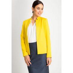 Żółty żakiet bez zapięcia QUIOSQUE. Żółte marynarki i żakiety damskie marki QUIOSQUE, uniwersalny, z jeansu, eleganckie. W wyprzedaży za 139,99 zł.