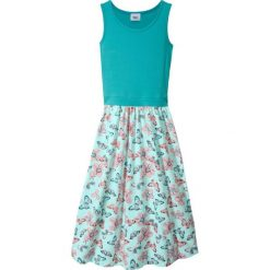 Odzież dziecięca: Letnia sukienka, dł. do kostki bonprix zielony morski – pastelowy miętowy z nadrukiem