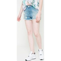 Wrangler - Szorty. Szare szorty damskie z printem Wrangler, z bawełny, casualowe. W wyprzedaży za 119,90 zł.