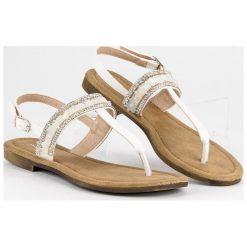 Klapki damskie: Białe sandały japonki SMALL SWAN białe