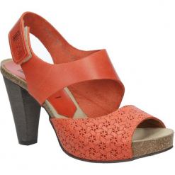 Pomarańczowe sandały skórzane na słupku Nessi 42103. Czarne sandały damskie na słupku marki Nessi, z materiału. Za 208,99 zł.