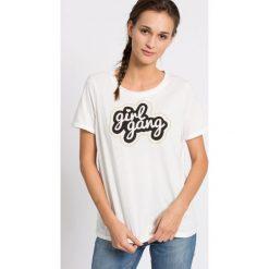 Vero Moda - Top. Szare topy damskie marki Vero Moda, l, z nadrukiem, z bawełny, z okrągłym kołnierzem. W wyprzedaży za 34,90 zł.