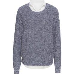 Sweter dzianinowy z koszulową wstawką bonprix szary melanż - biały. Szare swetry klasyczne damskie bonprix, z dzianiny, z koszulowym kołnierzykiem. Za 59,99 zł.