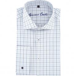 Koszula RICCARDO 15-11-32-K. Białe koszule męskie na spinki marki Giacomo Conti, m, w kratkę, z klasycznym kołnierzykiem, z długim rękawem. Za 199,00 zł.