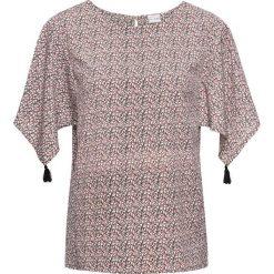Bluzka tunikowa bonprix różowy z nadrukiem. Czerwone bluzki asymetryczne bonprix, z nadrukiem. Za 74,99 zł.