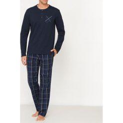 Piżamy męskie: Piżama z długim rękawem ze spodniami w kratę