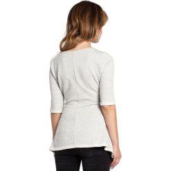ETHEL Bluzka z rozkloszowanym dołem - popielata. Szare bluzki z odkrytymi ramionami BE, l, z dzianiny, biznesowe, z krótkim rękawem. Za 99,00 zł.