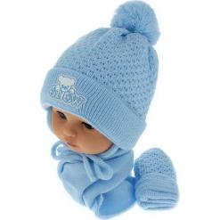 Czapka niemowlęca z szalikiem i rękawiczkami CZ+S+R 011B. Niebieskie czapeczki niemowlęce Proman. Za 45,90 zł.