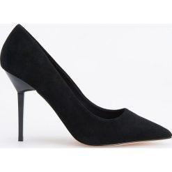 Skórzane czółenka na wysokim obcasie - Czarny. Czarne buty ślubne damskie Reserved, na wysokim obcasie. Za 249,99 zł.