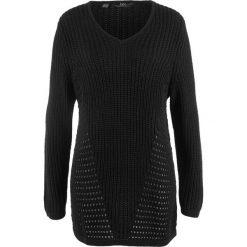 Swetry klasyczne damskie: Sweter dzianinowy w strukturalny wzór bonprix czarny