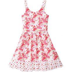Sukienki dziewczęce: Sukienka z falbaną bonprix biało-jasnoróżowy z nadrukiem