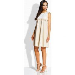 Sukienki balowe: Elegancka dwukolorowa sukienka o luźniejszym kroju ekri-beżowy