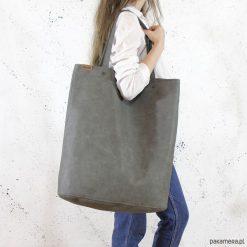 Mega shopper torba szara na zamek. Szare shopper bag damskie Pakamera. Za 170,00 zł.