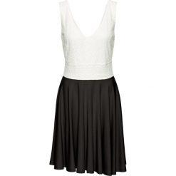Sukienki: Sukienka z dżerseju, z koronką bonprix biel wełny – czarny