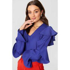 Bluzki damskie: Rut&Circle Bluzka z falbaną - Blue