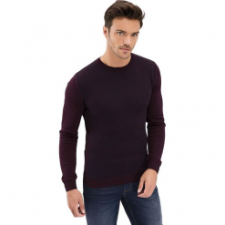 Sweter w kolorze bordowym. Niebieskie swetry klasyczne męskie marki GALVANNI, l, z okrągłym kołnierzem. Za 189,95 zł.