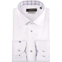 Koszula Biała Chiara. Niebieskie koszule męskie na spinki marki LANCERTO, z bawełny. Za 299,90 zł.