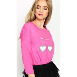 Fuksjowa Bluzka Triple Heart. Różowe bluzki longsleeves marki Born2be, m. Za 59,99 zł.