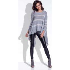 Paski damskie: Szary Sweter Asymetryczny w Paski
