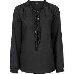 Bluzki damskie: Bluzka z perełkową aplikacją bonprix czarny
