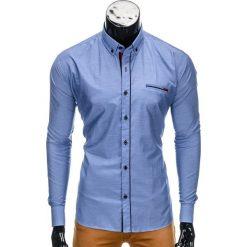 KOSZULA MĘSKA Z DŁUGIM RĘKAWEM K322 - NIEBIESKA. Niebieskie koszule męskie na spinki Ombre Clothing, m, z bawełny, z kontrastowym kołnierzykiem, z długim rękawem. Za 59,00 zł.