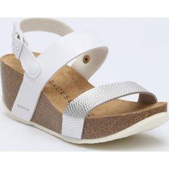 Buty damskie: Sandały w kolorze biało-srebrnym