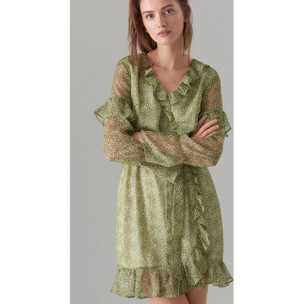 8fe1050b Szyfonowa sukienka z falbankami - Żółty