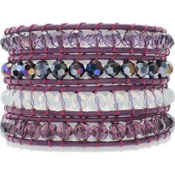 Bransoletki damskie: Skórzana bransoletka z koralikami w kolorze fioletowym