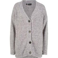 Sweter rozpinany z puszystej przędzy bonprix antracytowy melanż. Szare kardigany damskie bonprix, melanż. Za 74,99 zł.