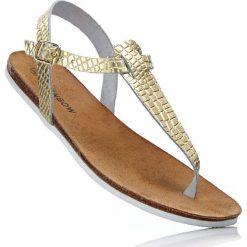 Sandały skórzane japonki bonprix złoty. Żółte klapki damskie marki bonprix. Za 44,99 zł.