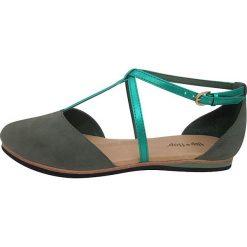 """Rzymianki damskie: Skórzane sandały """"Merida"""" w kolorze turkusowo-szarym"""