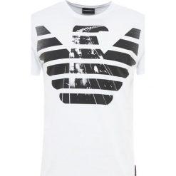 Emporio Armani Tshirt z nadrukiem bianco. Szare t-shirty męskie z nadrukiem marki Emporio Armani, l, z bawełny, z kapturem. Za 389,00 zł.