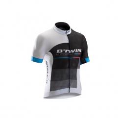 Koszulka krótki rękaw na rower ROADRACING 900 męska. Czarne odzież rowerowa męska marki KALENJI, m, z elastanu, z krótkim rękawem, do biegania. Za 229,99 zł.