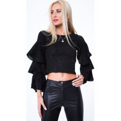 Bluzki damskie: Krótka bluzka z falbaniastymi rękawami czarny melanż MP32025