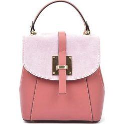 Plecaki damskie: Skórzany plecak w kolorze jasnoróżowym – (S)24 x (W)22 x (G)11 cm