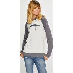 Roxy - Bluza. Szare bluzy rozpinane damskie Roxy, l, z nadrukiem, z bawełny, z kapturem. Za 279,90 zł.