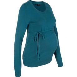 Sweter ciążowy z 100% bawełny, z wiązanym paskiem bonprix niebieskozielony morski. Zielone swetry klasyczne damskie bonprix, z bawełny, moda ciążowa. Za 74,99 zł.