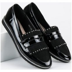 Mokasyny damskie: Merg czarne lakierowane mokasyny czarne