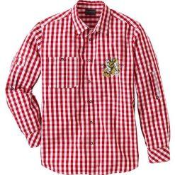 Koszula ludowa Regular Fit bonprix ciemnoczerwono-biały w kratę. Białe koszule męskie marki bonprix, z klasycznym kołnierzykiem, z długim rękawem. Za 89,99 zł.