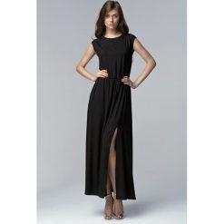 Czarna Efektowna Maxi Sukienka z Długim Rozporkiem. Czarne długie sukienki Molly.pl, na lato, l, wizytowe, z asymetrycznym kołnierzem, z długim rękawem, asymetryczne. Za 139,90 zł.