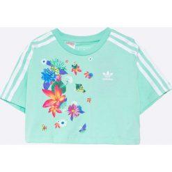Adidas Originals - Top dziecięcy 128-170 cm. Szare bluzki dziewczęce bawełniane adidas Originals, z nadrukiem, z okrągłym kołnierzem, z krótkim rękawem. Za 119,90 zł.