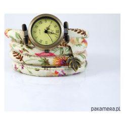 Zegarki damskie: Zegarek, bransoletka - Kwiaty - kremowy