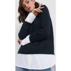 Sweter z koszulowymi wstawkami. Brązowe swetry klasyczne damskie marki Orsay, s, z dzianiny. Za 119,99 zł.