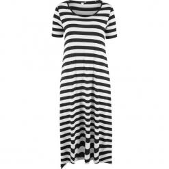 Sukienka z dżerseju, z asymetryczną linią dołu, rękawy 1/2 bonprix czarno-biały w paski. Białe sukienki asymetryczne bonprix, w paski, z dżerseju, z asymetrycznym kołnierzem. Za 89,99 zł.