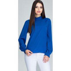 Niebieska Bluzka ze Stójką z Riuszką. Szare bluzki longsleeves marki Molly.pl, l, z tkaniny, z kopertowym dekoltem. Za 129,90 zł.